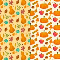 Cute Falls Pattern With Leaves, Pumpkin, Mushrooms And Ornaments