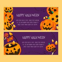 Watercolor Halloween Banners With Pumpkins