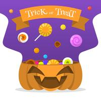 Flat Halloween Candy In Pumpkin Bucket Vector Illustration