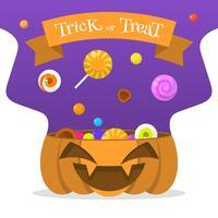 Flat Halloween Candy In Pumpkin Bucket Vector Illustration