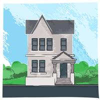 Hand-made-vector-sketch-of-old-house-watercolor-artwork