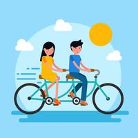 Couple Ride Tandem Bike Vector