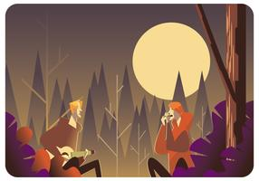 Playing Musical Instruments Around a Campfire Vector