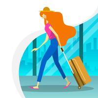 Mulher lisa com caminhada da mala de viagem na sala de embarque do aeroporto Ilustração