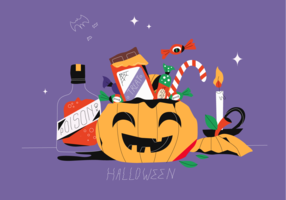 Halloween-candy-party-in-pumpkin-basket-vector-flat-illustration