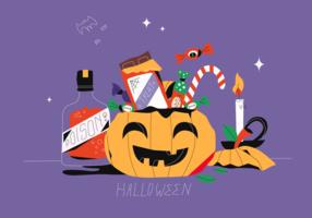 Halloween Candy Party In Pumpkin Basket Vector Flat Illustration