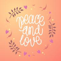 Hand Lettering Peace And Love Vector