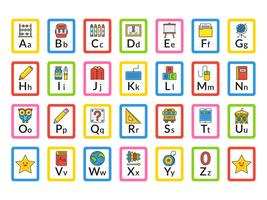 School Themed Alphabet Flash Cards