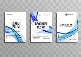 Abstract colorful wave buisness brochure template set design