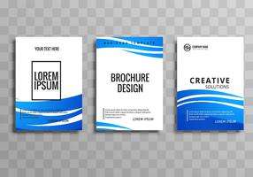 Modern blue wave business brochure template set vector