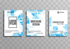 Conjunto de modelo de polígono abstrato negócios brochura azul