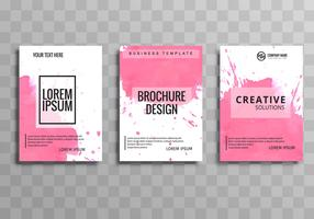 Abstract pink watercolor business brochure set