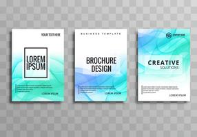 Modern blue wavy business brochure template set