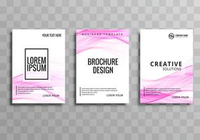 Abstract pink wave business brochure template set