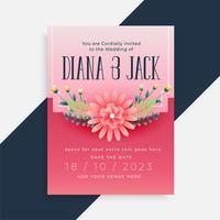 lovely flower wedding invitation card design