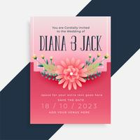 lovely flower wedding invitation card design