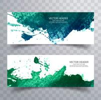 abstract paint brush colorful watercolor splash header set backg