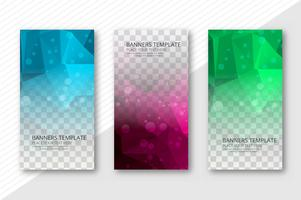 Abstract polygon transparent  banners set template vector