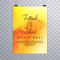 Holi brochure colorful of template for Holi celebration design