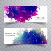 abstract paint brush colorful watercolor header set background