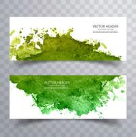 Beautiful green colorful watercolor banners set design