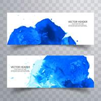 modern blue watercolor splash banners set design