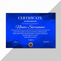 Abstract blue polygon certificate template vector design