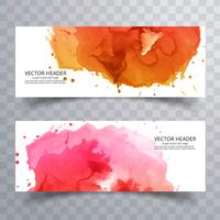 modern colorful watercolor banners set