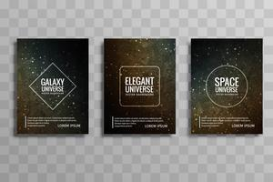 Beautiful galaxy colorful business brochure design set