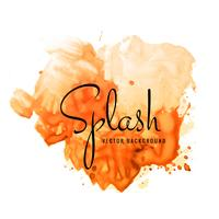 Beautiful hand paint watercolor orange splash on white backgroun