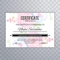 Certificate Premium template awards diploma colorful floral illu