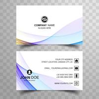 Abstract beautiful business card colorful line wave design