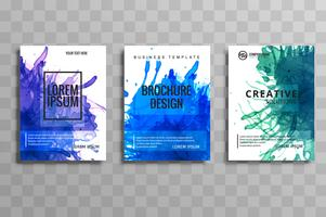 abstract watercolor style brochure set design in blue