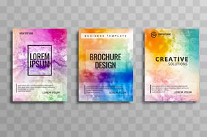 Beautiful watercolor business brochure colorful set of cards vec vector