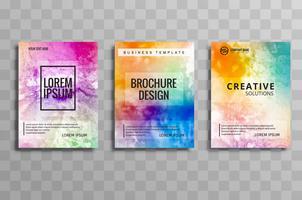 Belo conjunto de brochura de negócios em aquarela colorido de cartões vec