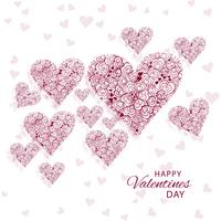 Abstract decorative hearts valentine''s day background illustrat