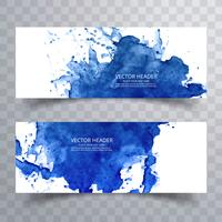 Beautiful watercolor blue banners set design