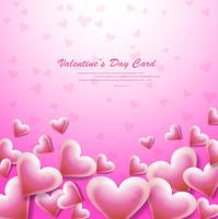 Beautiful card valentine's day pink background with hearts illus