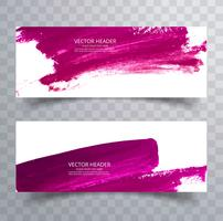 Beautiful watercolor stroke banners set design