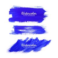 Abstract blue watercolor strokes set and texture design