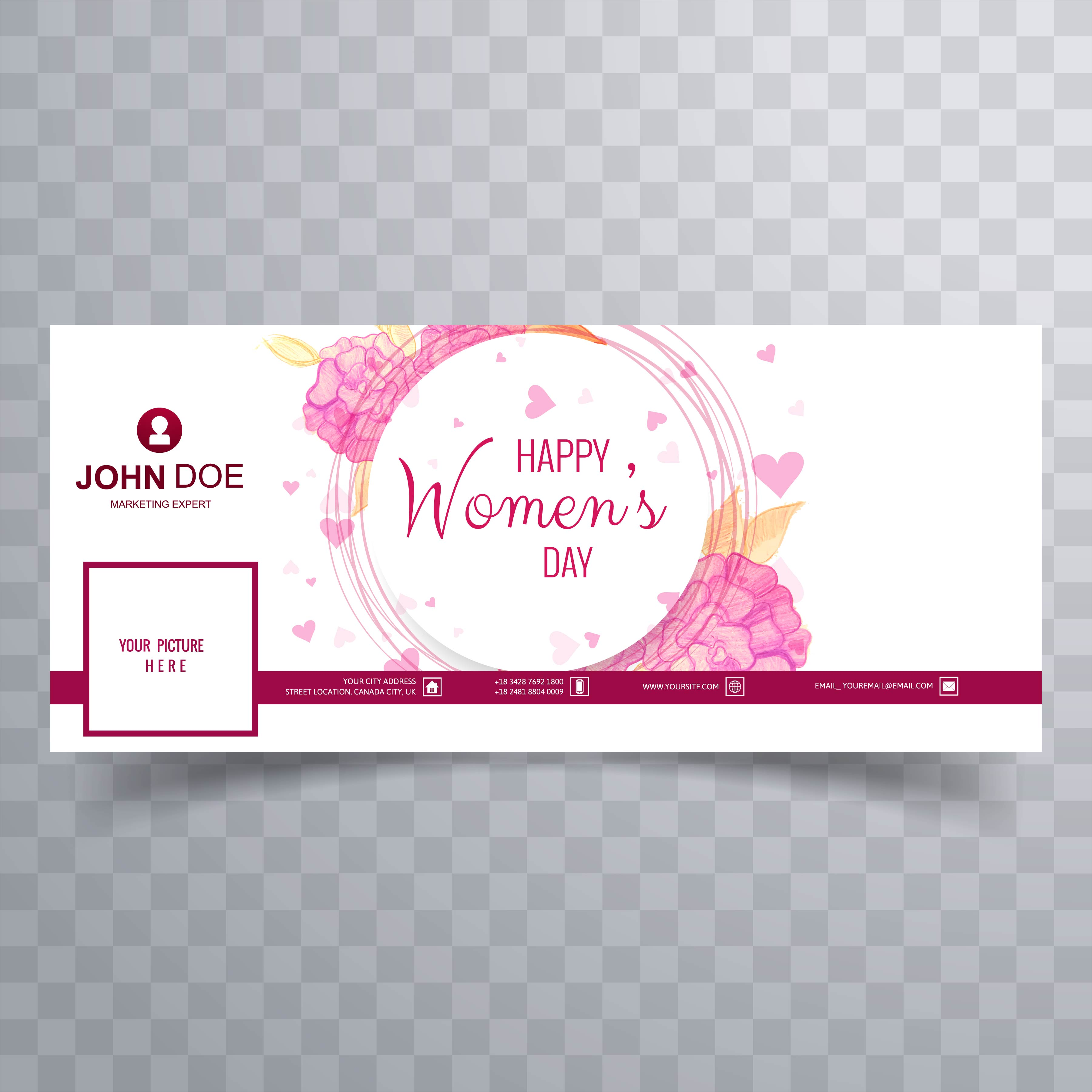 Women S Day Facebook Cover With Floral Design Download Free