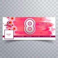 Women's day facebook cover with watercolor design vector