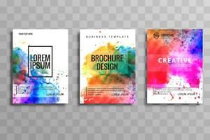 Modern watercolor business brochure set of cards vector design