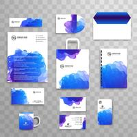 Abstract colorful watercolor business stationery set