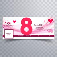 Women's day facebook cover with wave design