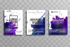 Abstrakt vattenfärg affärer broschyr uppsättning kort vektor