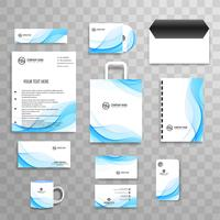 Abstract wave business stationery set