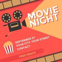 Noche de cine cartel vector