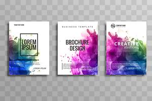 Abstract watercolor business brochure set of cards vector