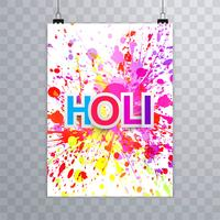 Happy holi festival vecteur de design coloré brochure holi